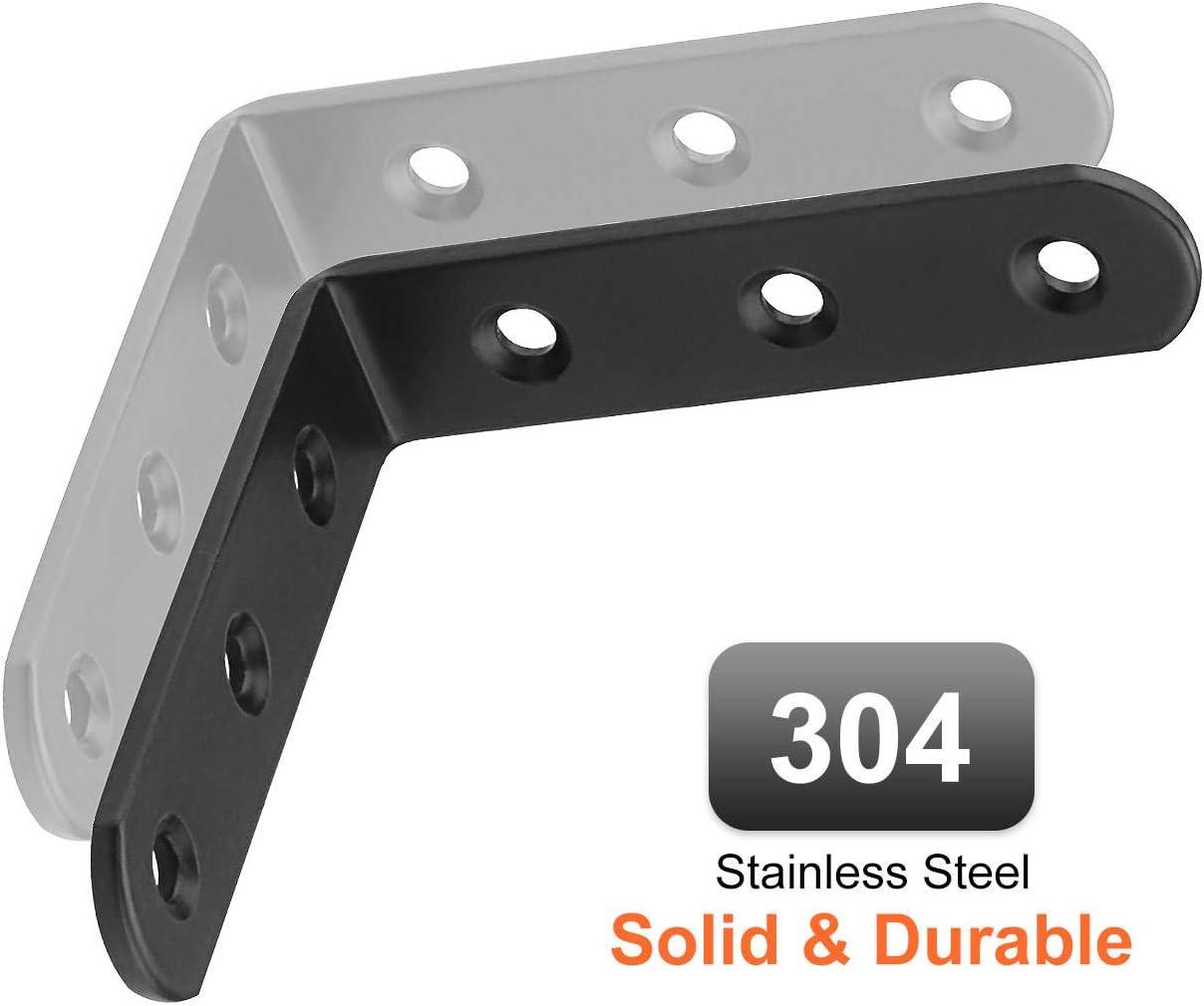 Starvast Lot de 16 /équerres dangle en acier inoxydable 90 degr/és 100 mm x 100 mm x 3 mm en forme de L Noir