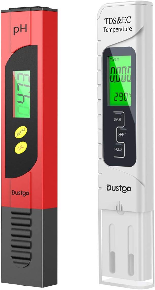 Dustgo Medidor pH Medidor de PH con Medidor TDS EC Temperatura 4 en 1 Digital,Medidor de Prueba de Calidad del Agua 0-14 pH Medida de 0-14 pH, 0-19990ppm Calibración Automática, set of 2