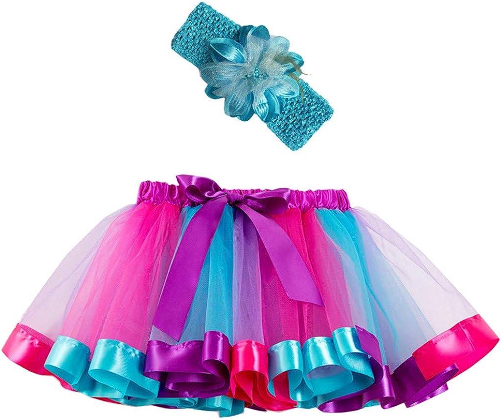 Waymine Kids Baby Girl Rainbow Tutu Skirt Dance Ballet Costume+Headband Set 2-11T