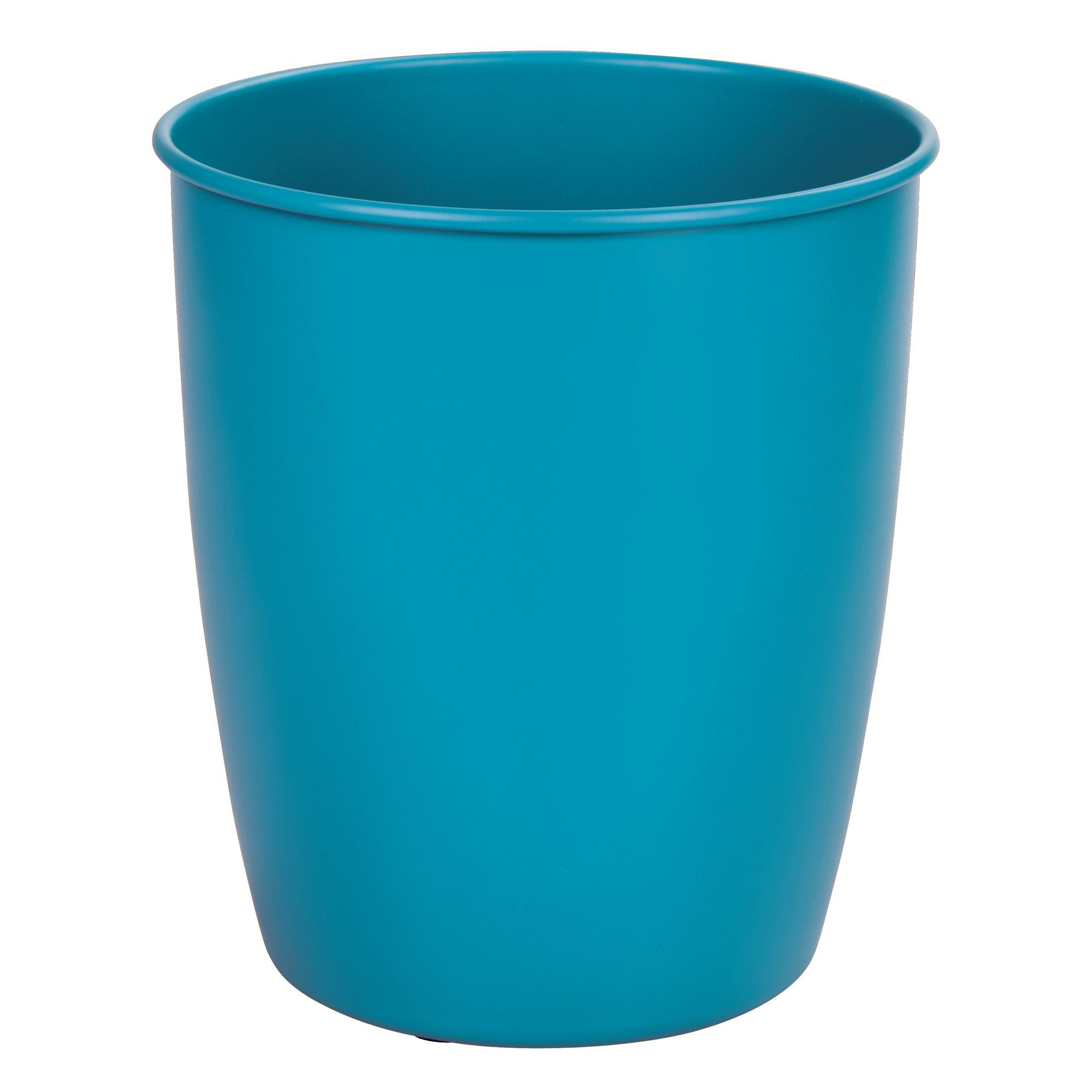 mDesign Round Metal Small Trash Can Wastebasket, Garbage Container Bin for Bathrooms, Powder Rooms, Kitchens, Home Offices - Durable Steel with Matte Teal Finish