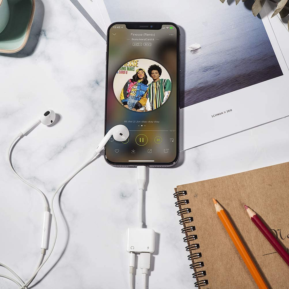 For iPhone Headphones Adapter for iPhone Earphone Adapter 3.5mm AUX Cable Audio Jack Adaptor for iPhone 11 8//8Plus//7//7Plus//X//XR//XS//XS max Music /& Charge Headset Splitter Support iOS 13 or Later