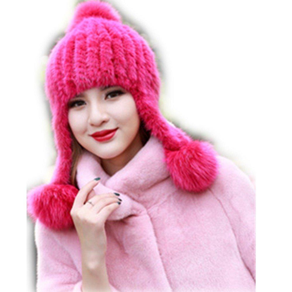 Real Knitted Mink Fur Hat Women Natural Fox Fur Ball Beanie Luxury Cap gegefur