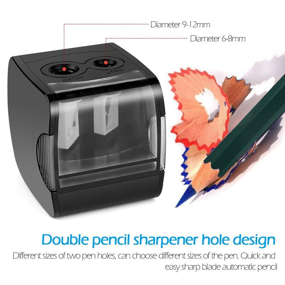 Electric Pencil Sharpener, AOFU USB Double Hole Battery Operated Heavy Duty Sharpener for kids, School and Office (Black)-003 by AOFU (Image #1)