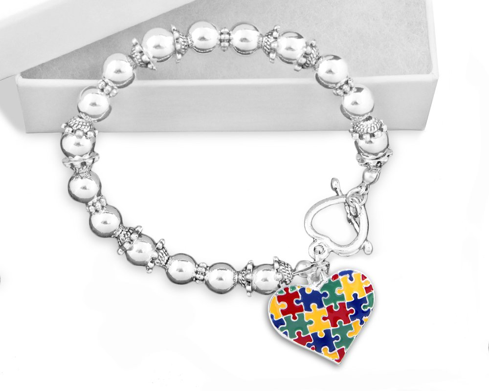 10 Pack Autism Colored Puzzle Piece Heart Beaded Charm Bracelets (10 Bracelets Individually Bagged)