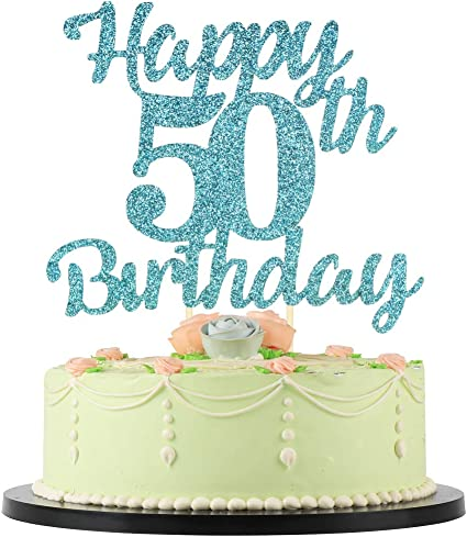 Remarkable Amazon Com Lveud 50Th Birthday Cake Topper For Happy Birthday Funny Birthday Cards Online Eattedamsfinfo