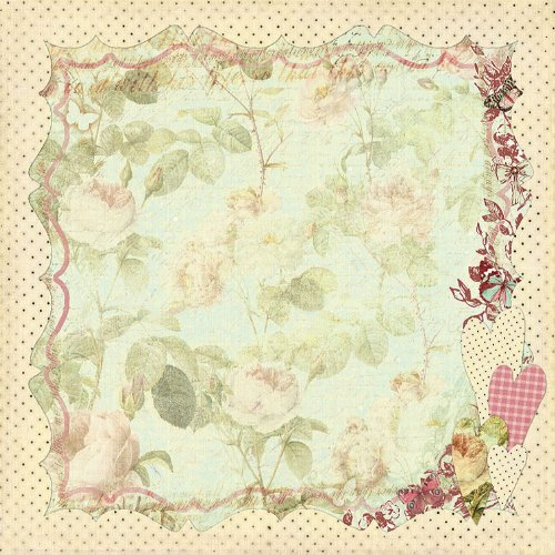 Prima 813253 12 by 12-Inch Art Stitched Mulberry Paper, Floral Hearts Art Stitched Mulberry Paper