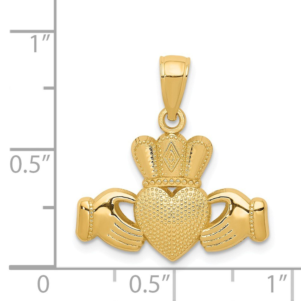 14K Claddagh Pendant with Textured Crown