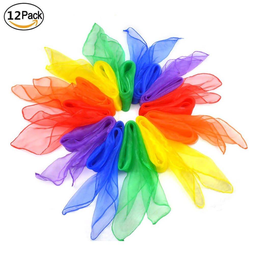 Hitasche Sciarpe di Giocoleria Danza Juggling Magiche Sciarpe 60 x 60 cm per Bambini 12 Pezzi