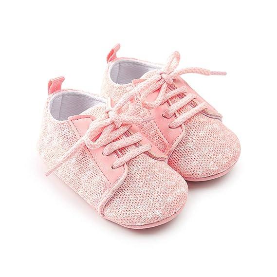 Morbuy Zapatos de Bebe Lino Primeros Pasos, Niño y Niña Recién Nacido Cuna Suela Blanda Antideslizante Zapatillas (12cm / 6-12meses, Rosado): Amazon.es: ...
