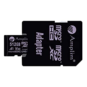 512GB 100MB/s Pro Micro SD Card Plus SD Adapter Pack. Amplim 512 GB MicroSDXC Memory Card (Class 10 U3 A1 V30 UHS-I UHS-1 TF SDXC Card) MicroSD Card for Cell Phone, Galaxy, Fire, GoPro, DJI, Camera (Color: Purple 512GB, Tamaño: MicroSD)