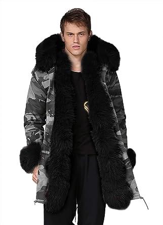 101d9c23381 Aox Men s Casual Faux Fur Hood Thicken Winter Coat Lightweight Snow Jacket  Parka (S