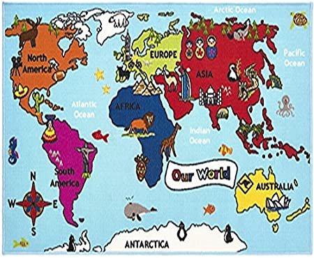 World map rug our world atlas amazon kitchen home world map rug our world atlas gumiabroncs Image collections