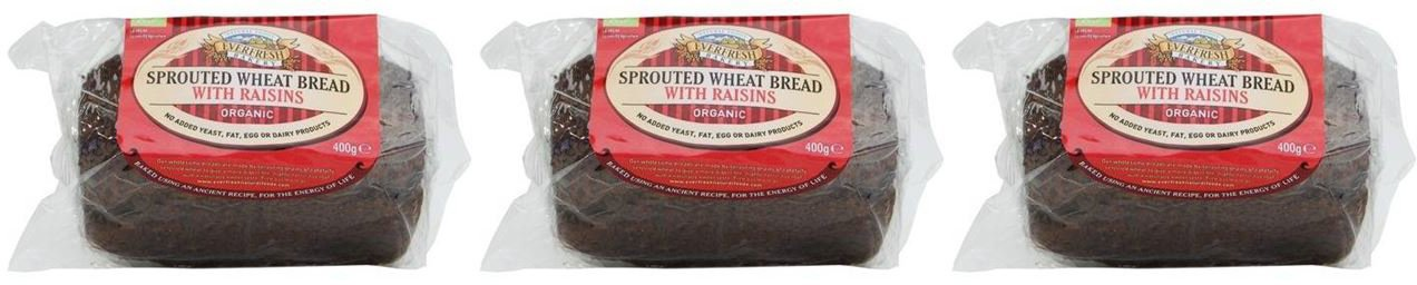 (3 PACK) - Everfresh Natural Foods - Org Sprout Wheat Raisin Bread | 400g | 3 PACK BUNDLE