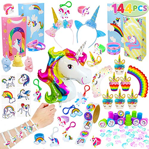 JOYIN 144 Unicorn Party Favors Supplies Set Includes unicorn Balloons, Headbands, Goodie Bags, Cupcake Toppers and Wrappers, Necklaces, Stickers, Keychains, Bracelet, Tattoos, Stamps for Birthday Part