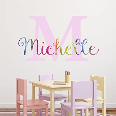 "Nursery Rainbow Custom Name Wall Decal Sticker, 40"" W by 23"" H, Girl Name Wall Decal, Girls Name, Personalized, Girls Name Decor, Girls Nursery, Girls Bedroom, Plus Free White Hello Door Decal: Baby"