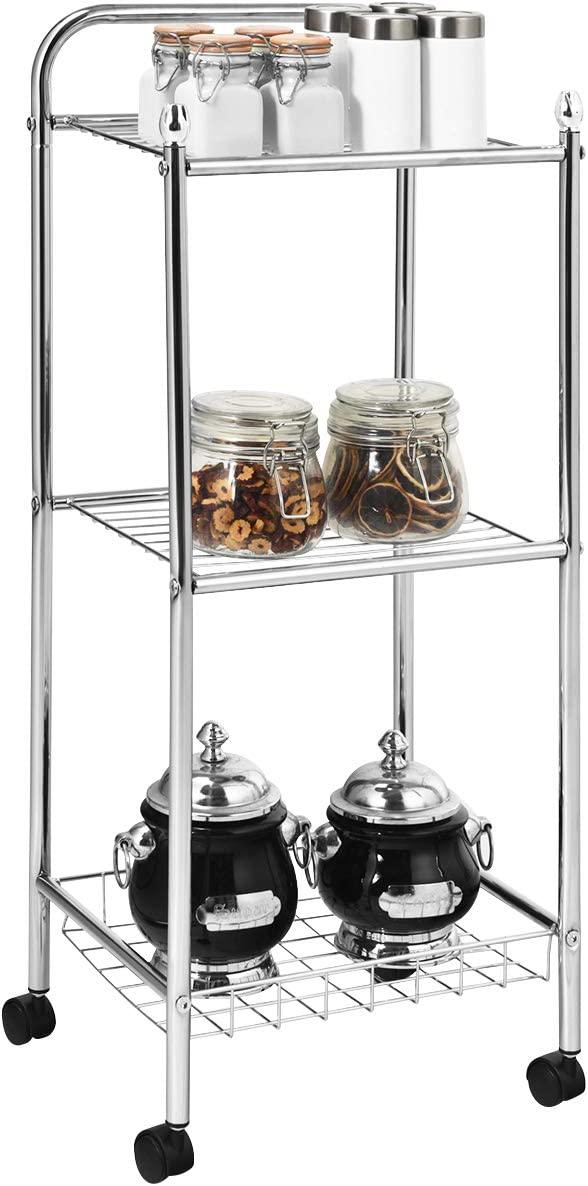 Giantex Kitchen Island Cart, Rolling Service Cart, Metal Storage Shelving Organizer, 3-Tier Utility Cart for Kitchen, Bathroom, Pantry, Laundry, Wire Mesh Basket, Kitchen Trolley with Casters