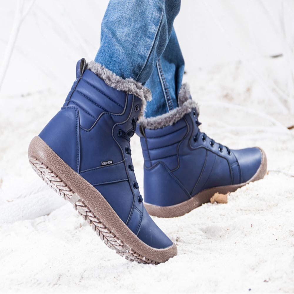 OWMEOT Mens Snow Boots Waterproof Fur Lined Booties Non-Slip Lightweight Winter Shoes