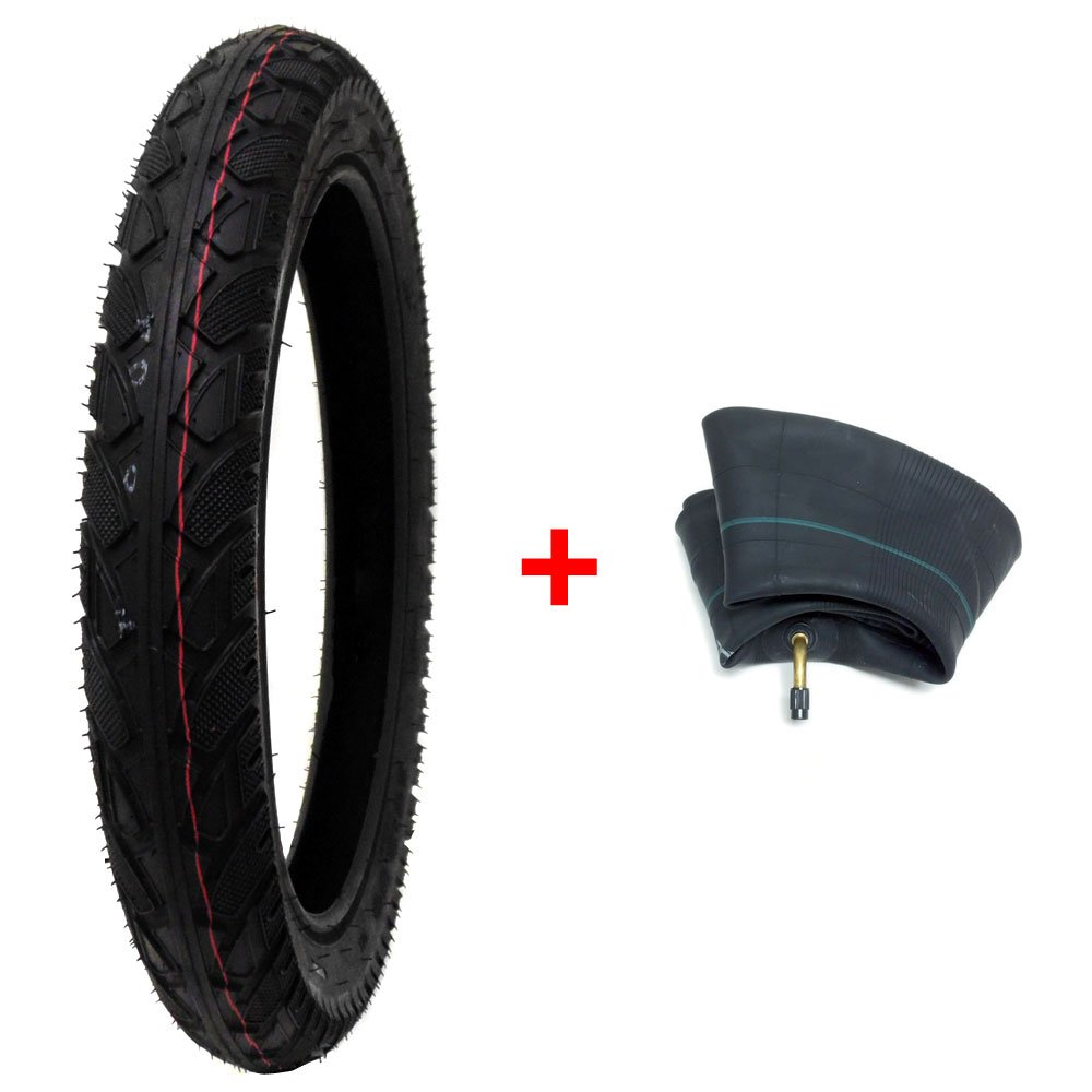 BUNDLE COMBO TIRE and INNER TUBE Size 16 x 2.50 (Fits on 12'' Rims) Black Sidewall Electric Bikes, Kids Bikes, BMX Bicycles by MMG