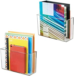 """mDesign Modern Plastic Storage Bin Container for Office with Strong Adhesive Mount for Cabinets & Walls - to Hold Erasers, Tape, Pens, Pencils, Markers, Notepads - 11"""" Wide, 2 Pack - Clear"""
