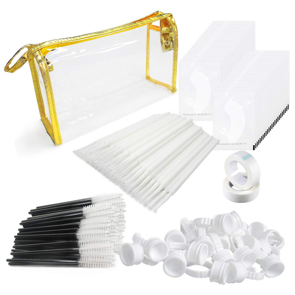 4x100 Packs Eyelash Extension Kits White- Under Eye Pads & Eyelash Mascara Wands Applicator Makeup Brush & Glue Rings Holder Nail Art Tattoo & Micro Applicators Brush Beauty Tools