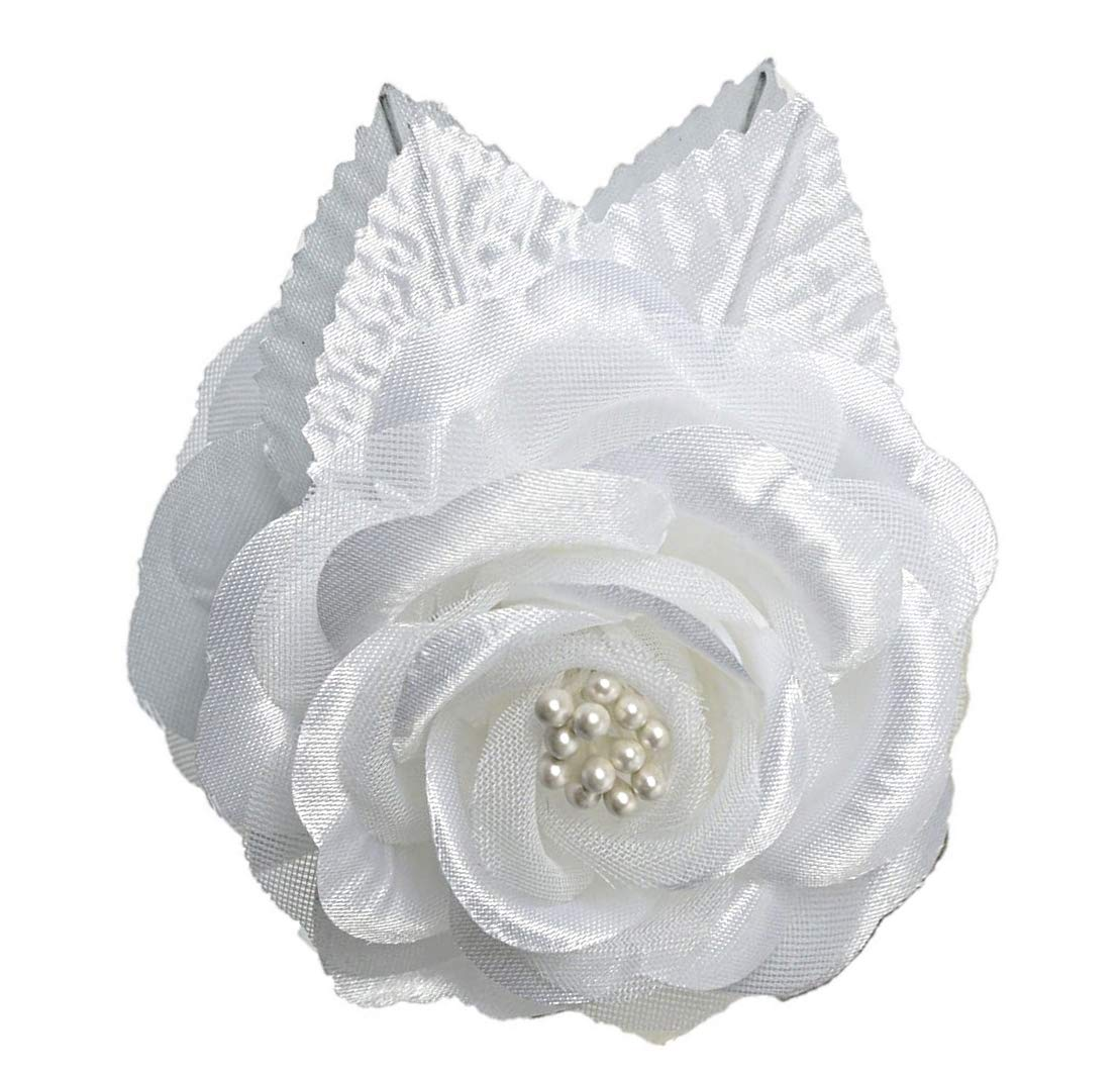 12-Silk-Roses-Wedding-Favor-Flower-Corsage-Pick-White