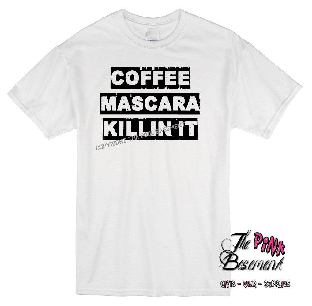 Amazon.com: HANDMADE Coffee mascara killin it Funny Humor Unisex Womens Best Friend Husband Wife Tshirt T Shirt Ladies gag gift Humor Personalized Punk ...