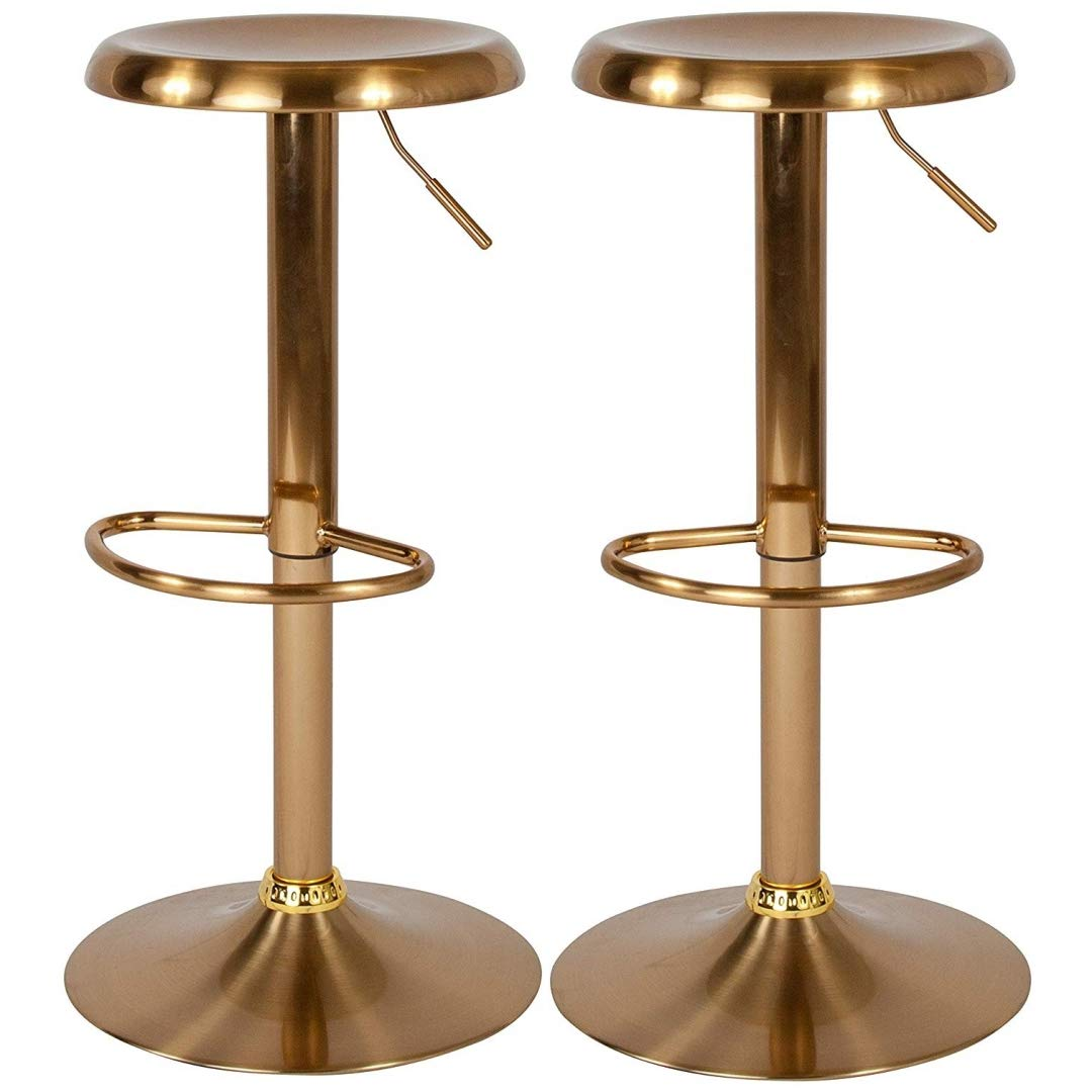 Contemporary Classic Design Metal Dining Round Backless Bar Stools Adjustable Height Swivel Seat Lounge Restaurant Diner Commercial Home Office Furniture - Set of 5 Gold #2205