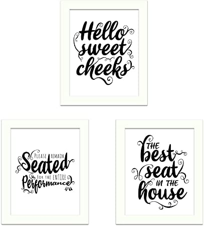 Funny Toilet Quotes Wall Art Restroom Bathroom Decoration White /& Black Prints
