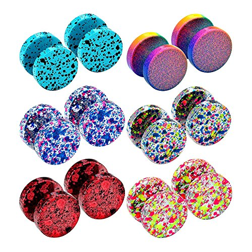 ugs Faux Gauges Plugs Earring for Men Stainless Steel Studs Circle Flat Back Cheater Illusion Tunnel Dumbbell Earrings Ear Plugs Women(06. Two of Each Color, 6 Pairs,16G,10mm) ()
