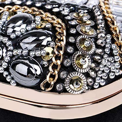 Embrayage Sac pour Noir Rose soirée Perles Jours Strass Handmade 7x4x2inch Bal enveloppe d'autres Femmes Et Parti 18x10x6cm fériés qcEpWUSS