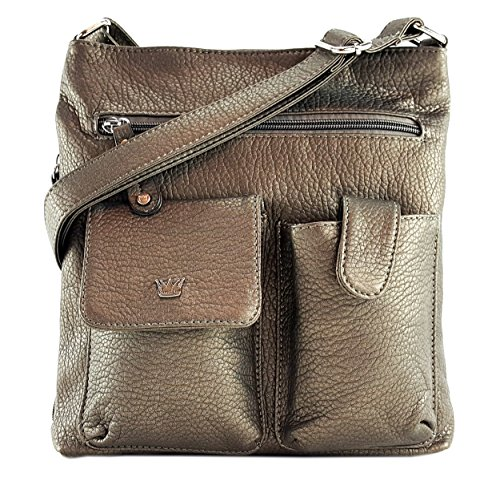 Concealed Zip Pocket - Purse King Colt Concealed Carry Handbag (Dark Pewter/Gunmetal)