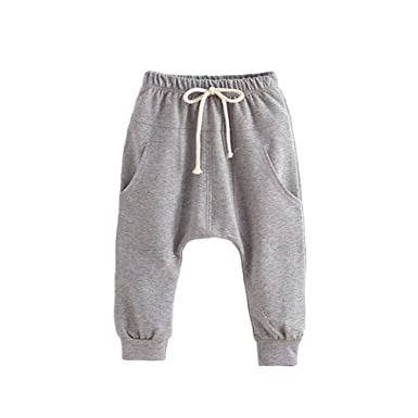 203026326715 Verypoppa Little Boys Girls Harem Pants Hiphop Elastic Waist Cotton Trousers  with Pockets (2 Years