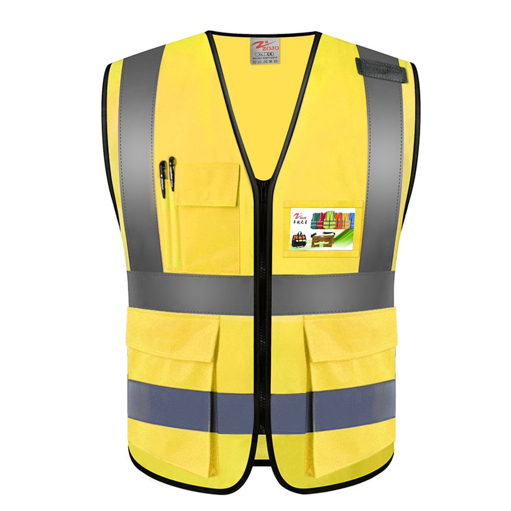 ZOJO High Visibility Safety Vests,Adjustable Size,Lightweight Mesh Fabric, Wholesale Reflective Vest for Outdoor Works, Cycling, Jogging, Walking,Sports - Fits for Men and Women (1Pack, Gold Yellow)