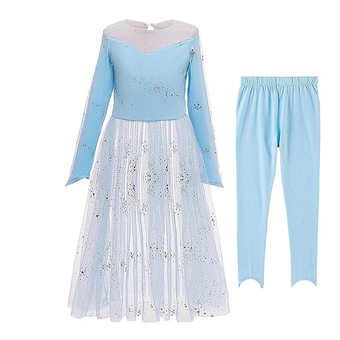IWEMEK Niñas Elsa Disfraz Princesa Anna Vestido Reino de ...