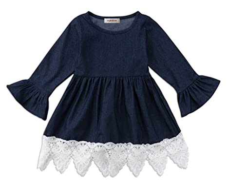 c196796bd40 stylesilove Cute Denim Bell Sleeve Lace Trim Kids Girl Dress (80 1-2