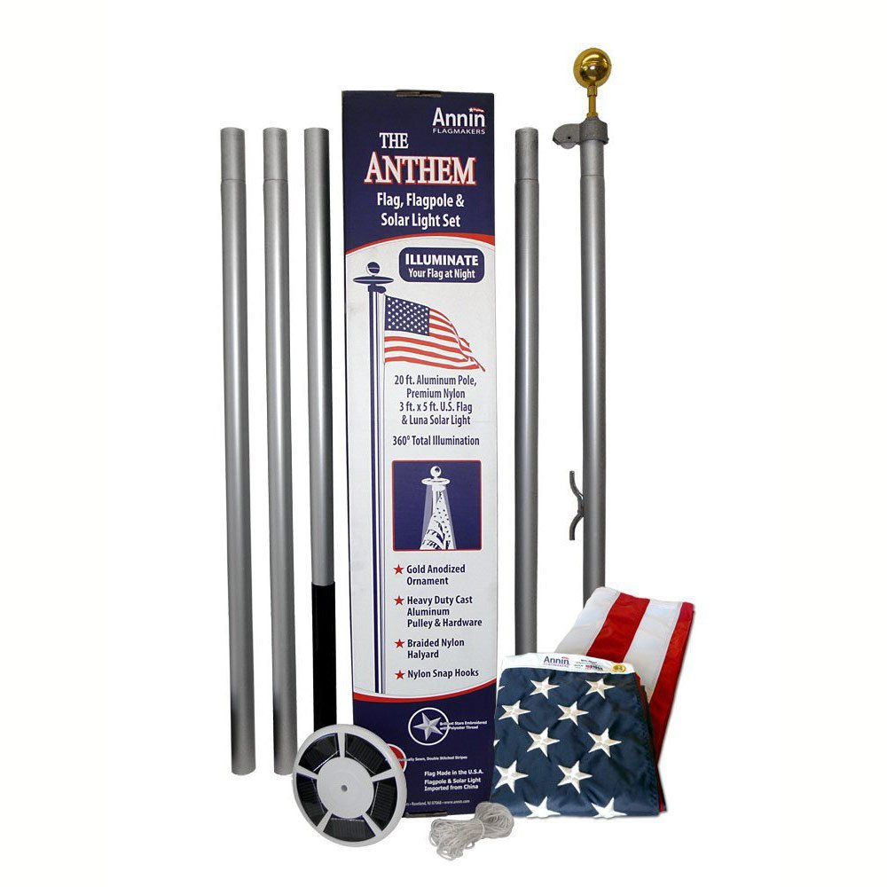 Anthem Ground Set Residential 20 ft. Flagpole Kit with Solar Light (20 ft. x 2 in.)