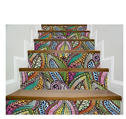 LongYu Stairs self-adhesive wallpaper European pattern decoration 3D removable DIY stickers modern waterproof stairs wallpaper buy three get one free