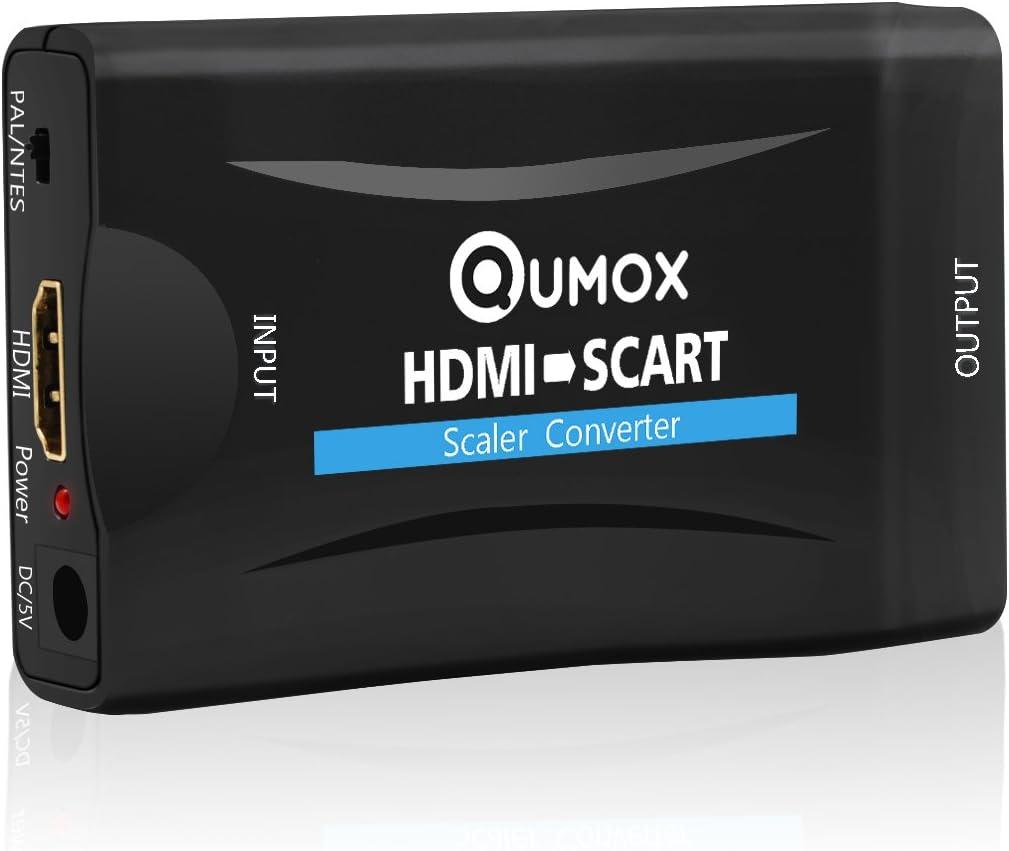 QUMOX 1080P HDMI a Scart Convertidor Audio Video Adaptador EIA Péritel SKY: Amazon.es: Electrónica