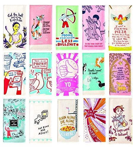 BlueQ Dish or Tea Towel Ultimate Collectors Set Bundle: 15 Different Hilarious Designs by Get Bullish