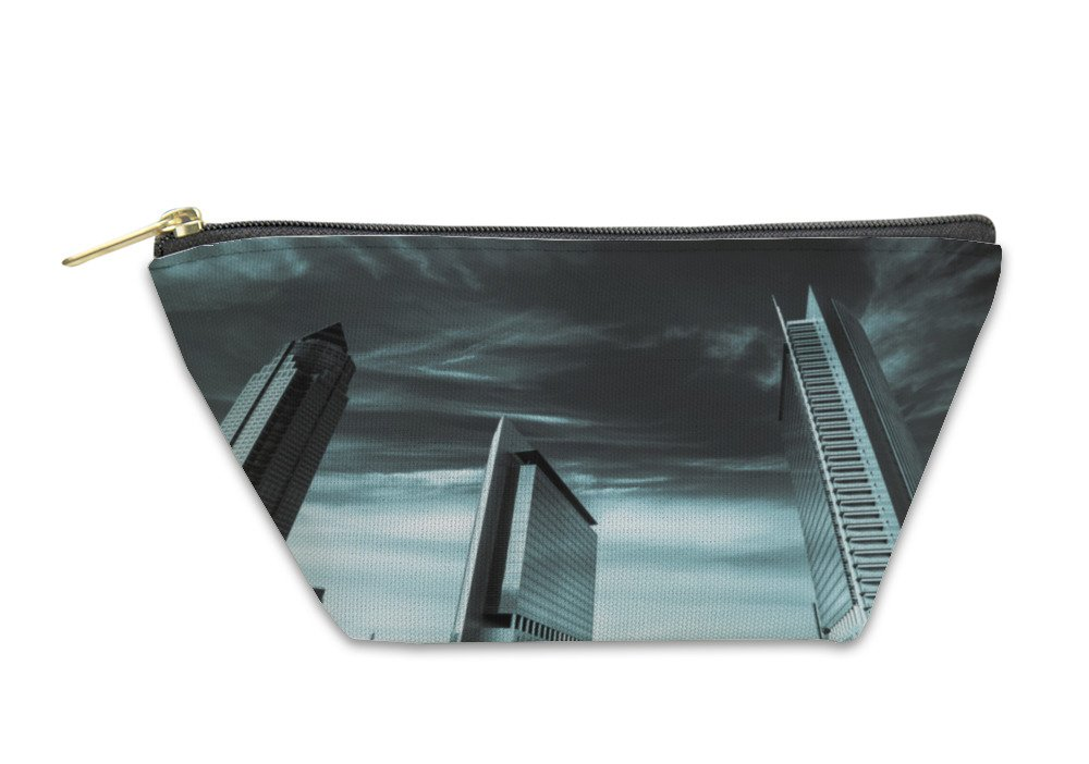 Gear New Accessory Zipper Pouch, Frankfurt Business Towers Black And White Landscape, Small, 5982280GN