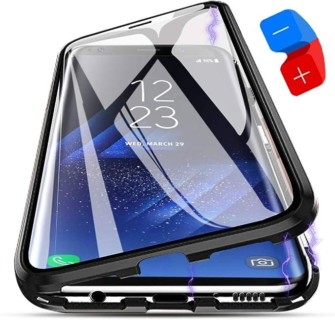 ZHXMALL Funda Samsung Galaxy S8 Plus, [Adsorción Magnética] Marco de Metal Carcasa de Teléfono Parachoque Imanes Incorporados con Cubierta Dura de Trasera de Vidrio Templado Transparente Case Cover: Amazon.es: Electrónica