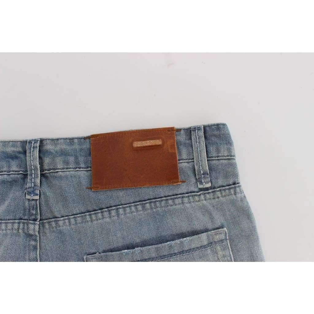 ACHT Blue Wash Torn Denim Cotton Slim Fit Jeans