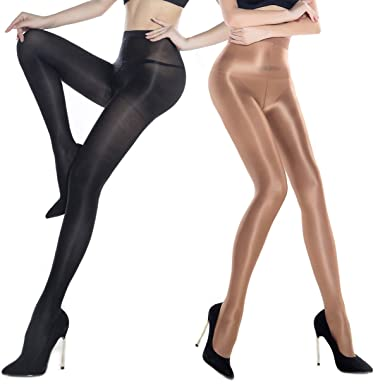 cdc18043f 4 Pairs Oil Socks 70D Shiny Silk Stockings Pantyhose High Waist ballet  Tights (Black 2