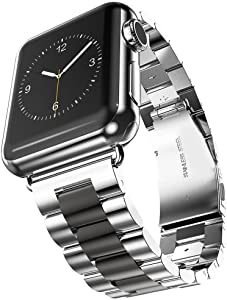 U191U Band Compatible with Apple Watch 38mm 42mm Stainless Steel Wristband Metal Buckle Clasp iWatch 40mm 44mm Strap Replacement Bracelet for Apple Watch Series 4/3/2/1 Sports Edition