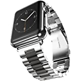 U191U Band for Apple Watch 42mm Stainless Steel Wristband Metal Buckle Clasp iWatch Strap Replacement Bracelet for Apple Watch Series 3/2/1 Sports Edition (Silver/Black, 42MM)