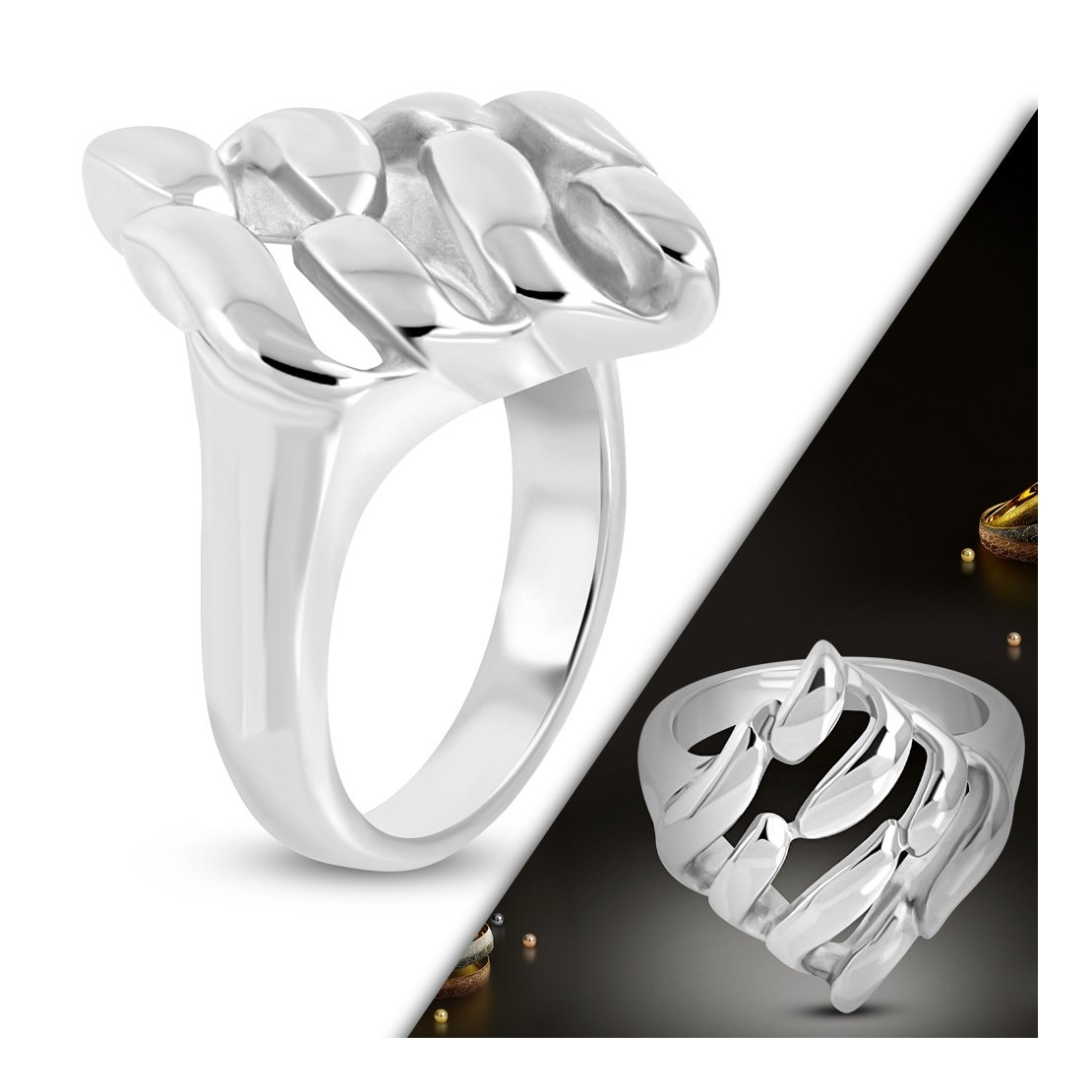 Stainless Steel Cut-out Square Fancy Ring