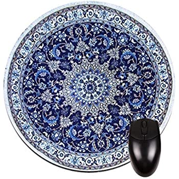 Navy Persian/Oriental Rug Mat  Round Mouse Pad   Stylish, Durable Office  Accessory And Gift