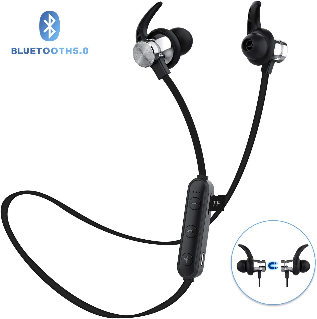 Bluetooth Headphones, ownta Bluetooth 5.0 Wireless Magnetic Earbuds, Snug Fit for Sports with Mic, TF Card Playback Compatible with iPhone iPad Samsung Android Smartphone 9