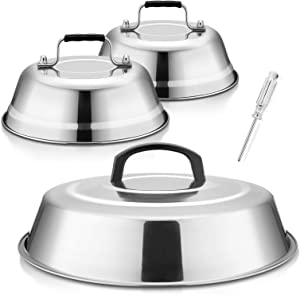 Cheese Melting Dome 12Inch & 9Inch, HaSteeL Stainless Steel Round Steaming Basting Cover Set, Heavy Duty Griddle Grill Accessories for Flat Top Griddle Teppanyaki BBQ Cooking Indoor & Outdoor - 3Packs