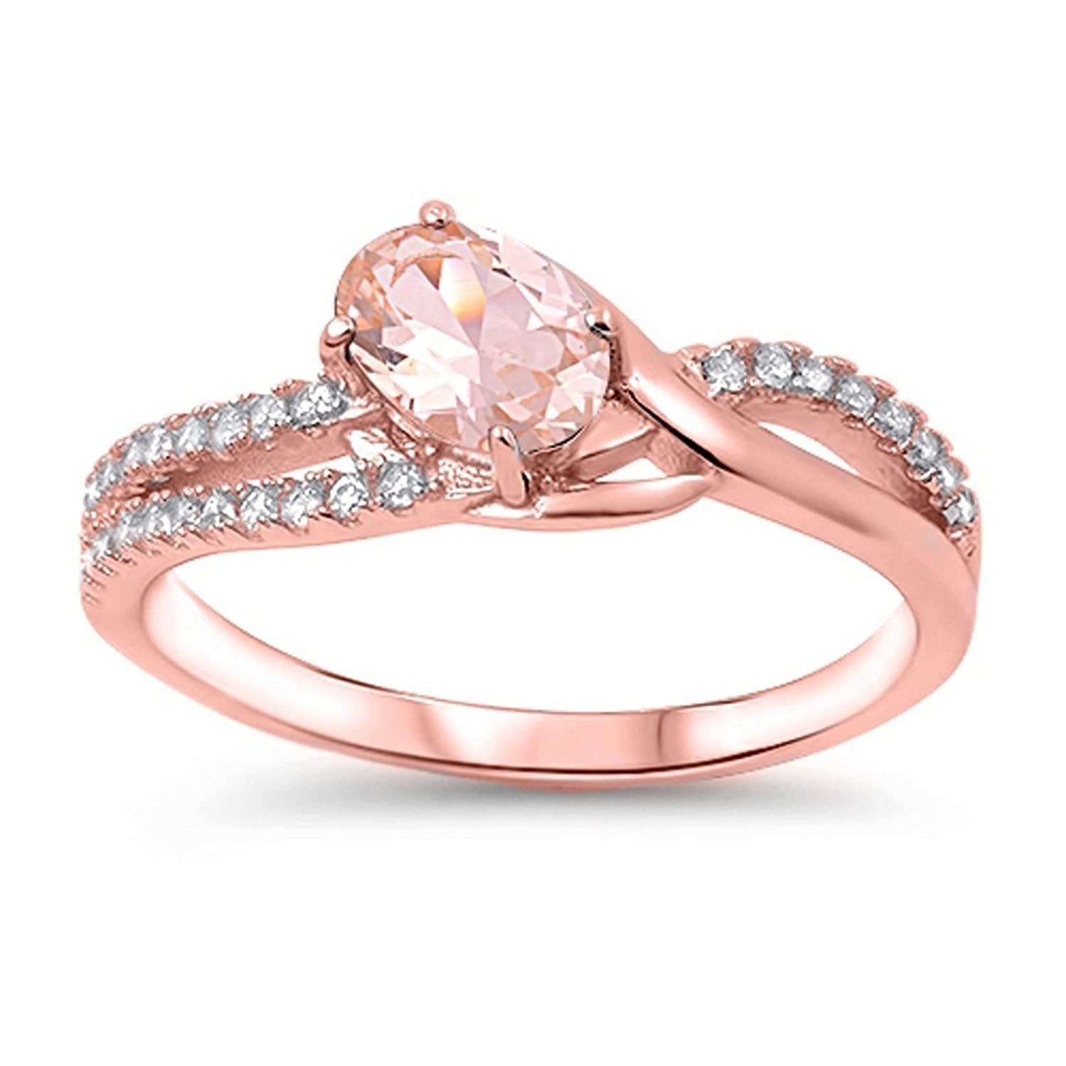 Amazon.com: Sterling Silver Rose-Tone CZ and Simulated Morganite ...